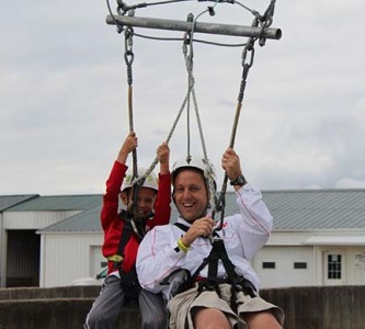 Lucas and Tony Arnold brave the zip line