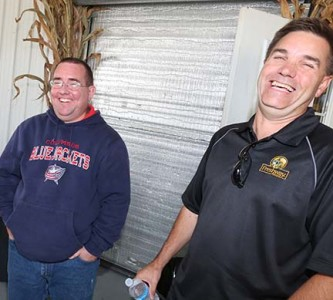 Mark Nuss and Devon Beer share a laugh