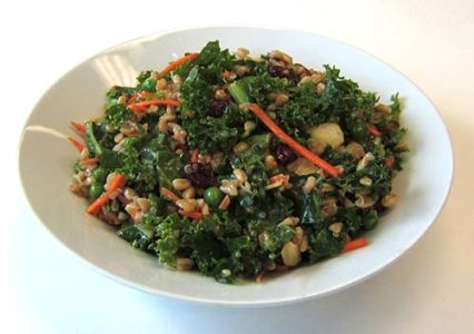Balsamic Kale Salad with Farro and Quinoa
